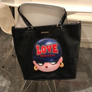 Love Moschino black tote with 3D girl logo